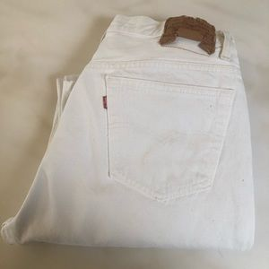 501 Button Fly White Jeans 36